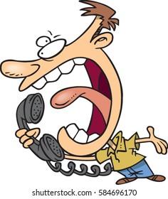 cartoon man yelling into phone
