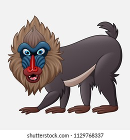 Cartoon mandrill baboon isolated on white background