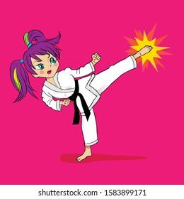 Cartoon Manga Female Character Doing Karate Blow