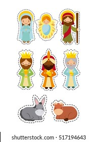 cartoon manger characters and animals over white background. colorful design