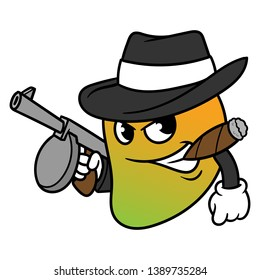 Cartoon Mango Mobster Vector Illustration