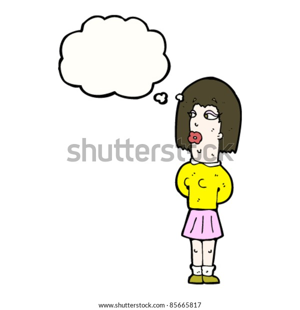 cartoon mannish woman with thought bubble