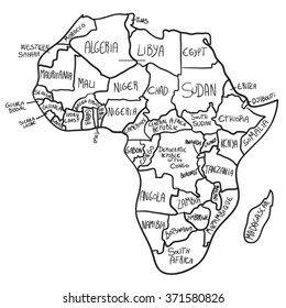 Cartoon Map Africa Stock Vector Royalty Free 371580829 Shutterstock