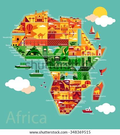 Cartoon Map Africa Stock Vector Royalty Free 348369515 Shutterstock