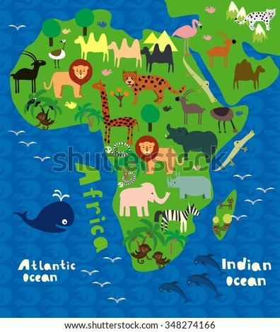 Cartoon Map Africa Wild Animals Stock Vector Royalty Free