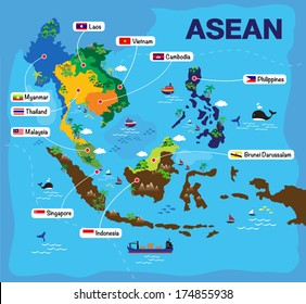 Cartoon map of ASEAN, asian