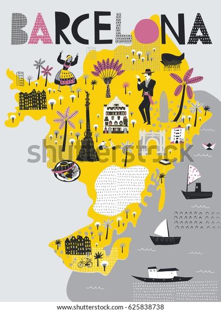 Tegneserie Kort Over Barcelona Spanien Udskriv Lagervektor