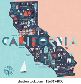 Cartoon map of California. USA. Print Design