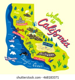 Cartoon map of California.Travels