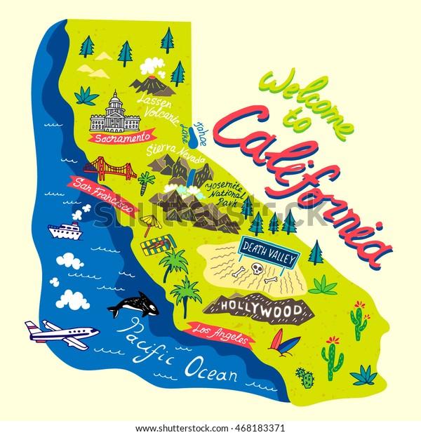 Sarjakuva Kartta California Travels Arkistovektori Rojaltivapaa