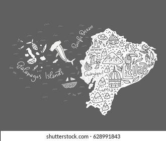 Cartoon map of Ecuador and Galapagos Islands - hand drawn illustration with all main symbols. Vector art.