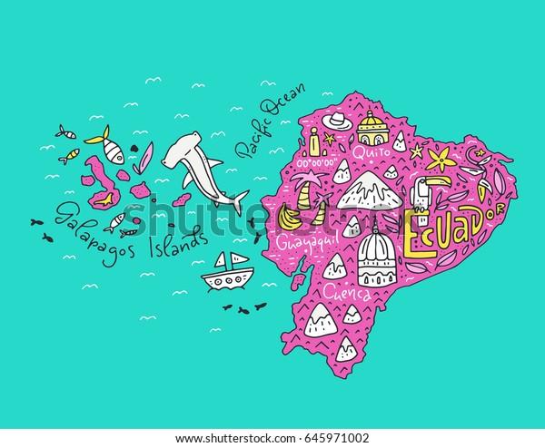 Cartoon Map Ecuador Galapagos Islands Hand Stock ...