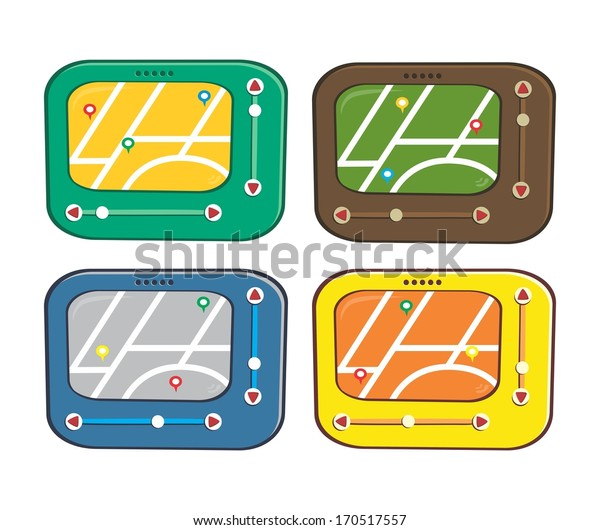 cartoon map electronic device