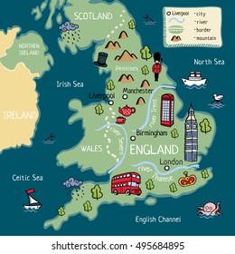 Map Of England Scotland.Cartoon Map United Kingdom England Scotland Stock Vector Royalty