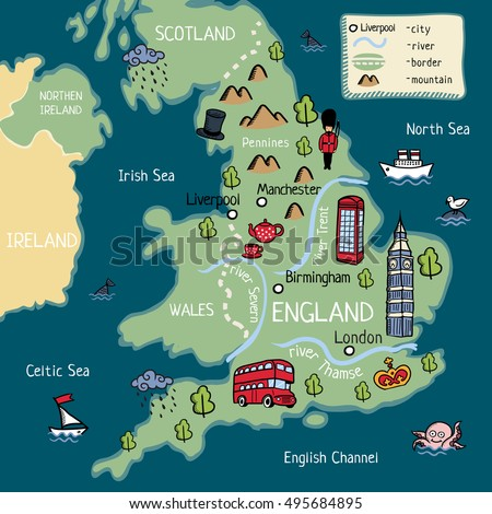 Cartoon Map England Stock Vector Royalty Free 495684895 Shutterstock
