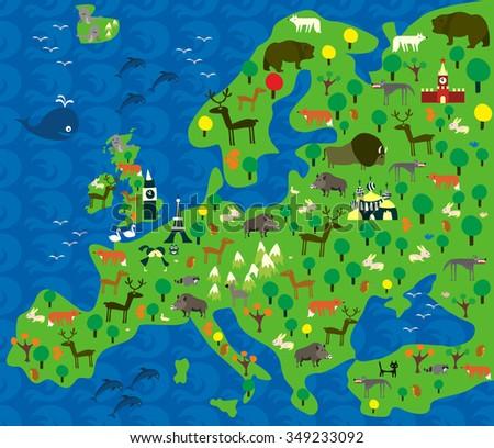 Cartoon Map Europe Animals Stock Vector (Royalty Free) 349233092 ...