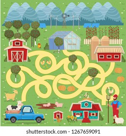 Cartoon map with farm. Vector funny maze game.