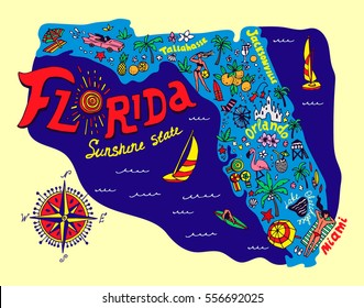 Cartoon map of Florida state. Travel and attractions.
