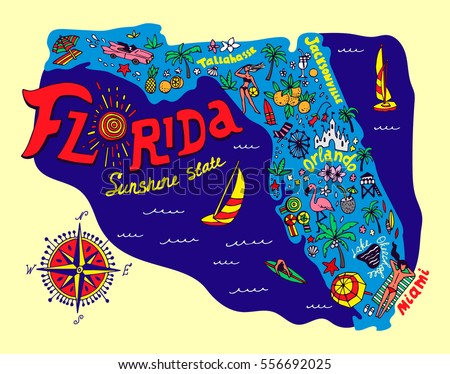 Map Of Florida State.Cartoon Map Florida State Travel Attractions Stock Vector Royalty