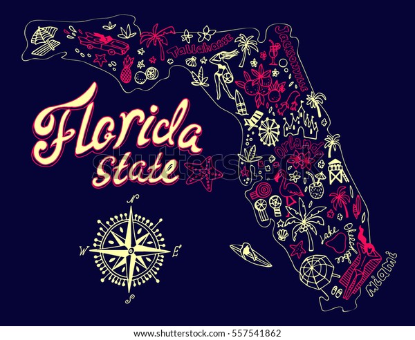 Cartoon Map Florida State Travel Attractions Stock Vector (Royalty on