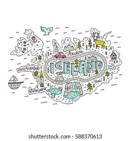 Cartoon map of Iceland. Handdrawn illustration with all main tourist attractions. Great design element for travel blog, poster, tour guide company. Vector cartography.