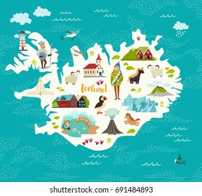 Cartoon map of Iceland for kid and children. Iceland landmarks vector cute poster. Illustrated card