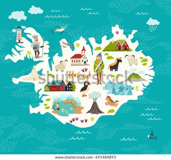 Cartoon Karte Von Island Fur Kinder Stock Vektorgrafik Lizenzfrei