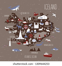 Cartoon map of Iceland, Nordic country geographic wallpaper, Icelandic landmark, animal, food national symbol, clothes vector cute illustration decorative poster, flat style for travel design and kids