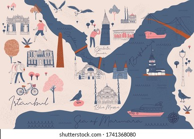 Cartoon Map of Istanbul with Legend Icons. Print Design