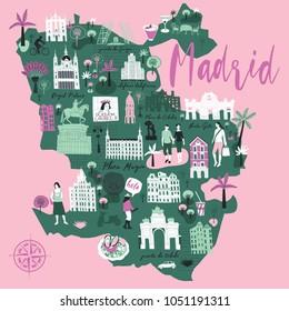 Cartoon map of Madrid. Spain. Print design