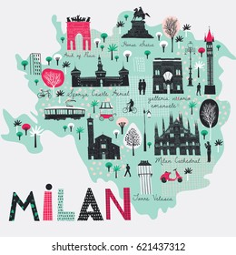 Cartoon map of Milan. Italy. Print design