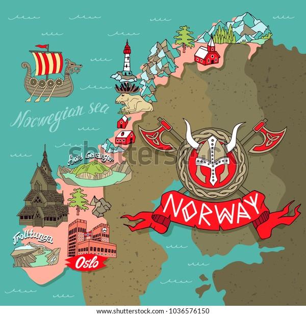 Cartoon Map Norway Elements Scandinavian Culture Stock Vector ...
