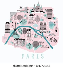 Cartoon Map of Paris with Legend Icons. Print Design