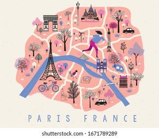 Cartoon Map of Paris with Legend Icons. Print Design