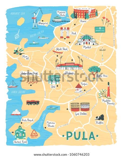 Cartoon Karte Von Pula Kroatien Die Stock Vektorgrafik