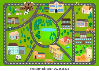 Cartoon map with roads, cars and houses (hospital, school, market, farm). City map for children. Play mat- city car track