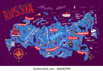 Cartoon map of Russia. Travels