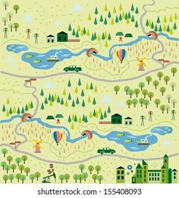 Cartoon map seamless pattern