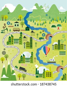 Cartoon map seamless pattern with river