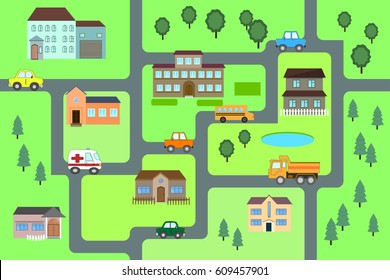 Cartoon map seamless pattern. (roads, cars and houses). City map for children. Play mat