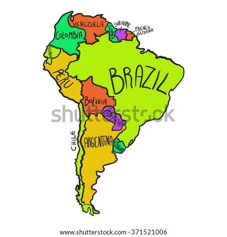 cartoon map south america のベクター画像素材 ロイヤリティフリー