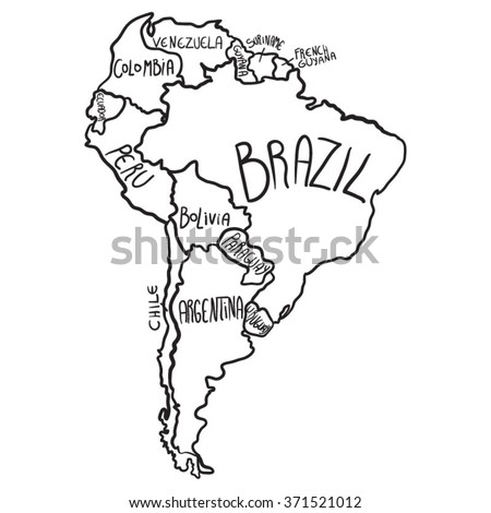 America Map Drawing.Cartoon Map South America Stock Vector Royalty Free 371521012