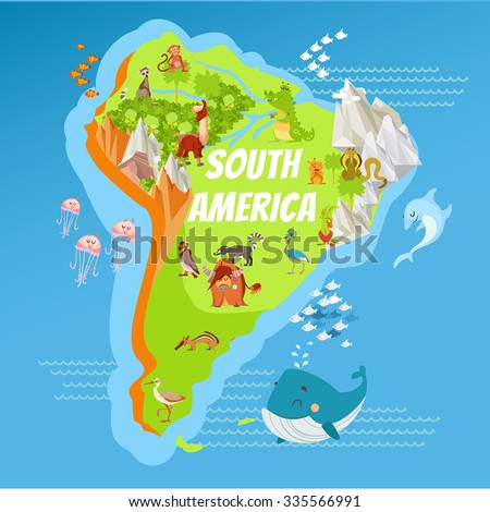 Cartoon Map South America Continent Riversmountains Stock Vector