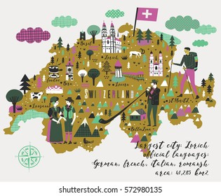 Cartoon Map of Switzerland with Legend Icons