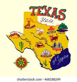 Cartoon map of Texas.Travels