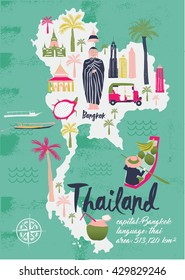 Cartoon Map of Thailand. Print Design
