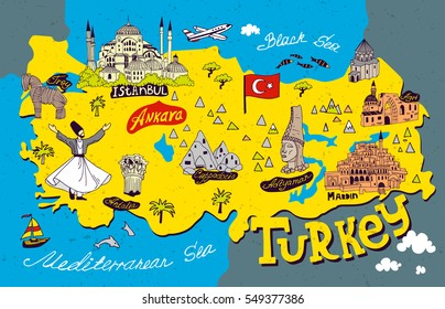 Cartoon  Map of Turkey. Travel and attractions.