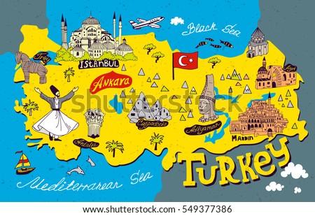 Cartoon Map Turkey Travel Attractions Stock Vector (Royalty Free ...