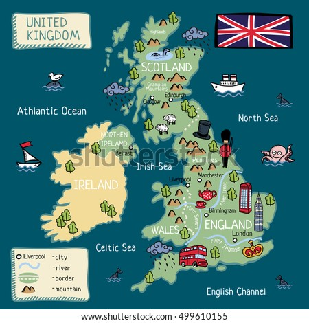 Cartoon Map United Kingdom Stock Vector Royalty Free 499610155
