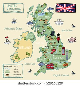 Cartoon map of United Kingdom. England, Scotland, Wells, North Ireland.